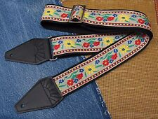 VINTAGE FLOWERS Cotton USA made TROPHY Guitar Strap
