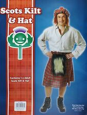 SCOTS SCOTTISH MANS FANCY DRESS KILT SPORRAN TAM OSHANTER HAT NEW