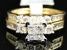 Ladies Yellow Gold Princess Cut Diamond Engagement Wedding Bridal Ring Set .9 Ct