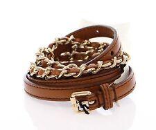 NWT $300 DOLCE & GABBANA D&G Brown Leather Logo Belt Cintura s.70cm / 28 inch