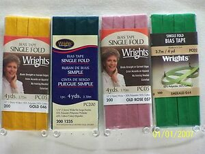 """Wrights / C&C Bias Tape Single Fold-1/2"""" w x 4 yds 104 Great colors to choose!!!"""
