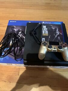 PlayStation 4 Slim 1TB Black Console w/ Game, Wires And Gold Controller