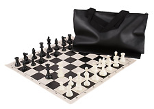 "Standard Chess Set - 20"" Black Vinyl Board - 34 Black & White Pieces - Black Bag"