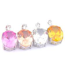 Xmas Jewelry Set Mulit 4 pcs Mystic Topaz Morganite Citrine Gem Silver Pendants