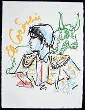 """Superbe Lithographie de JEAN COCTEAU   """"El Cordobès , Taureaux """" , signée"""