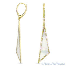 Mother-of-Pearl 0.42 ct Diamond Pave 14k Yellow Gold Dangling Stiletto Earrings