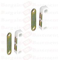 2x WHITE  DOUBLE MAGNETIC CUPBOARD DOOR CATCH LATCH FURNITURE HEAVY DUTY