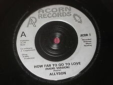 "Allyson:  How far to go to love  7""  NEW"