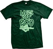 He's My Boo Finger Pointing Skeleton Bones Halloween Boyfriend Is Men's T-Shirt