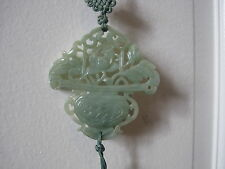 ANTIQUE CHINESE Light Green JADE PENDANT  in the form of a BASKET OF FLOWERS