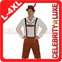 New Mens Oktoberfest Lederhosen German Bavarian Beer Brown Fancy Dress Costume