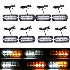 8x Amber/White 12 LED Emergency Hazard Warning Flash Strobe Lights Bar for Truck