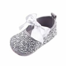 Mary Janes Gray with Glitter Accent Bow Micro Studs Gems Baby Shoes Sandals