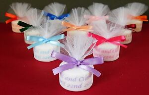 Personalised Candle Tealight Wedding Favours ( Set Of 50 ) in any colour