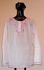 NWT Geeta White Cotton Boho Chic Hand Embroidered  Blouse Top 1 Sz
