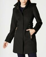 Vince Camuto Women's Hooded Wool Walker Coat, Black, Size M, NwT