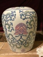 "Asian Porcelain Blue White & Pink Ginger Jar Lotus Flower 10 1/2""x7"""
