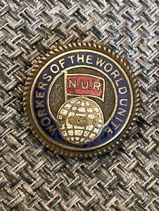 """Vintage NUR """"Workers Of The World Unite """"Enamel Badge"""
