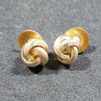 Vintage Monet Knot Textured Goldtone Small Pierced Earrings Signed