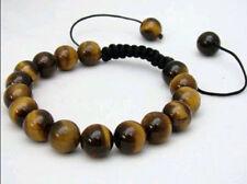Men's Shambhala bracelet all 10mm NATURAL TIGER EYE STONE ROUND BEADS