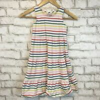 Hanna Andersson Girls White Bright Striped Scoopneck Play Dress Size 130 US 8
