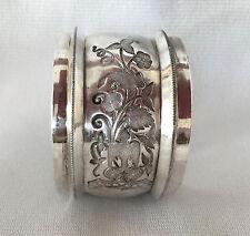 Antique Coin Silver Nouveau Bird & Floral Motif Napkin Ring
