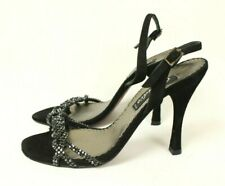 Claudio Milano Womens Sandal Black Suede Crystal Size 35 Italy #268