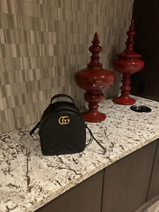 Gucci GG Marmont Quilted Backpack - Black Leather