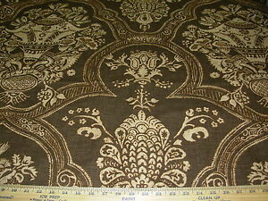 10 YDS VICTORIAN FLORAL BROWN~COTTON UPHOLSTERY DRAPERY FABRIC FOR LESS