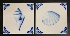 Vintage Dutch Seashell Tile Set Harlingen Holland