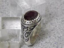 BLACK INLAY DESIGN/TECHNIQUE HANDMADE MEN'S SILVER RING WITH GENUINE RED RUBY