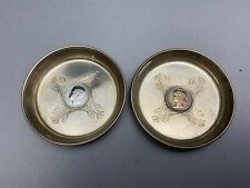 Pair Of Vintage Portuguese Silver Coin Inlaid Bowls