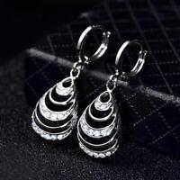 Dangle Drop Shell Silver White Gold Filled Diamond Gemstone Women Party Earrings