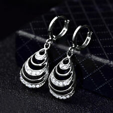 Classic Silver White Gold Filled Hollow Drop Shell Diamond Women Party Earrings