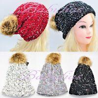 Womens Winter Knit Hat Beanie Flower Set Warm Hand Knitted Fashion Cap