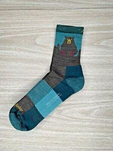Darn Tough Hike Trek Socks Womens Size Medium Teal Bear Slight Irregular