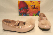 DREAMWORKS TROLLS, TODDLER GIRLS PINK POPPY CASUAL FLATS/MARY JANES, SIZE 6, NEW