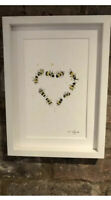 Bumble Bees Heart Original Signed Watercolour Painting, Framed + Gift Wrap