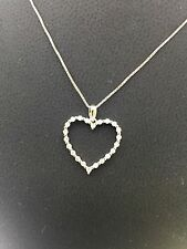 Heart Diamond Necklace  0.25  White Gold 14 Kt GIA Gemologist Appraisal $350