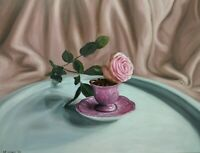 Still life painting flower rose oil original pink realism hyperrealism photoreal