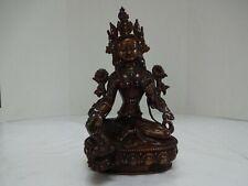 China Antique Tibetan Red Copper White Tara Guanyin Buddha Statue