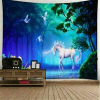 Art Unicorn Fairy Forest Print Tapestry Art Wall Hanging Room Bedspread Decor