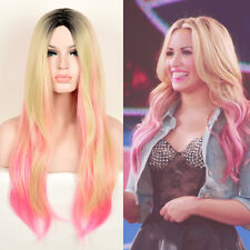demi lovato style pink hair LONG OMBRE BLONDE HAIR L-PART BLACK ROOT WIGS WIG