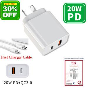 USB Wall Charger AU Plug Dual 2 Port 20W PD/QC3.0 Fast Charging iPhone 13 12