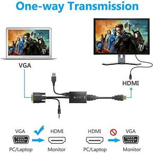 VGA Male to HDMI Female 1080P Output HDTV Audio Video Cable Converter Adapter