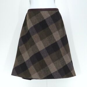 LAURA ASHLEY Brown Purple Pure WOOL Vintage Retro Ladies A-Line Skirt size UK 14