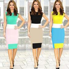 1PC Women Sleeveless Elegant Work Mini Bodycon Stretch Pencil Dress Stylish