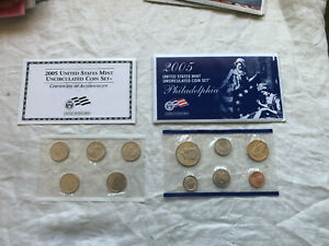 2005 Denver United States Mint Uncirculated 11 Coin Set with Envelope