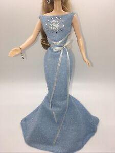 Blue Silver Sparkle Sagittarius Zodiac Mattel Barbie Doll Dress Gown & bracelet