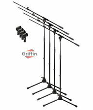 Telescoping Tripod Microphone Boom Stand 4 Pack - Griffin Mic Clip Studio Mount